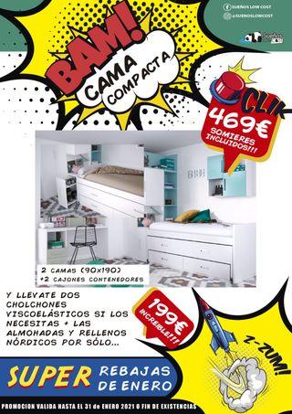 Cama compacta + doble cama + cajones contenedores