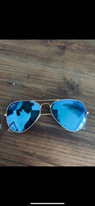 Gafas rayban aviador dorada Cristal azul