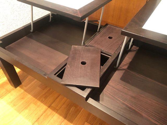 Mesa centro elevable con almacenamiento