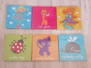 6 cuadros decoración habitacion bebés y niños