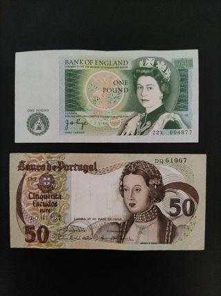 billetes antiguos England y Portugal