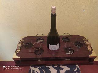 Botellero /Bandeja transporte para botella y vasos