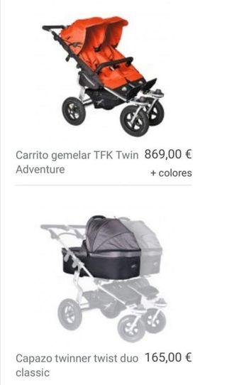 Vendo carrito gemelar marca TFK Twinner Twist Duo