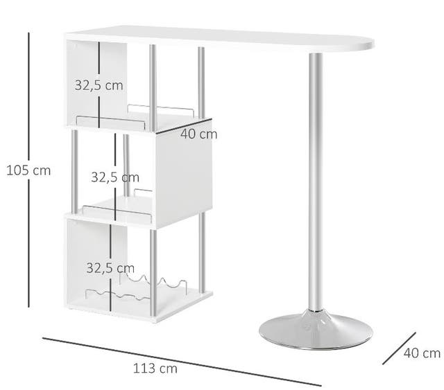 Mesa de bar blanca con estantes NUEVA