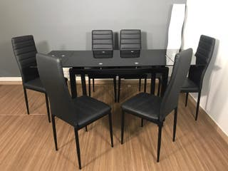 Mesas de Cristal extensibles + 6 sillas negras