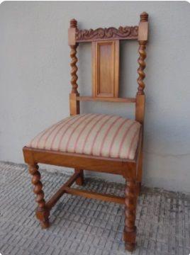 Silla vintage de madera - Tapizada