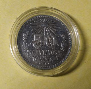 Moneda 50 centavos México de 1945