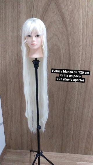 Peluca Blanca larga de 120 cm cosplay