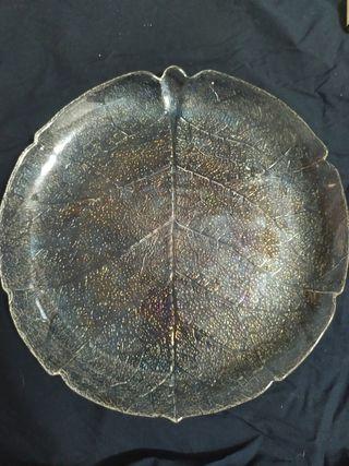 vajilla cristal con forma de hoja