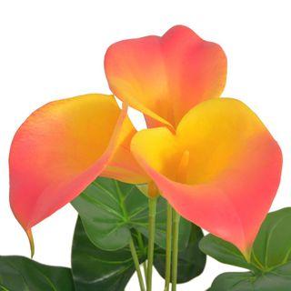 Planta Cala Lilly artificial con macetero roja y