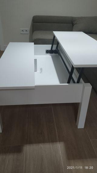 Mesa de centro nueva elevable blanca