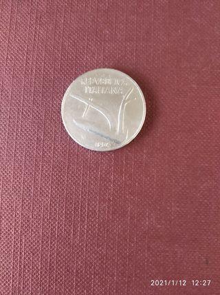 moneda de 10 liras de Italia año 1954