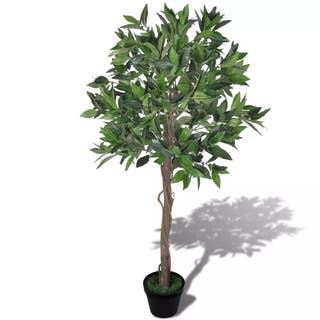 Árbol de laurel artificial con maceta, 120 cm de a