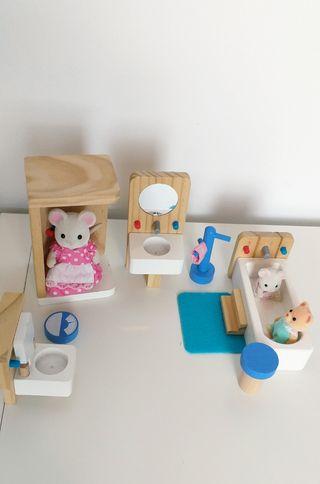 Baño de madera para casita de muñeca