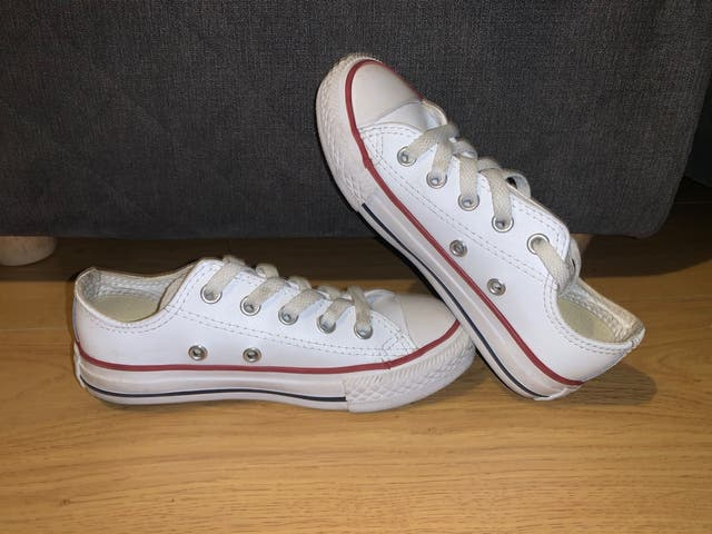 White leather low top converses kids size 11