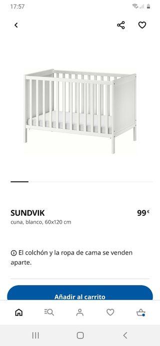 Cuna Ikea sundvik 60x120