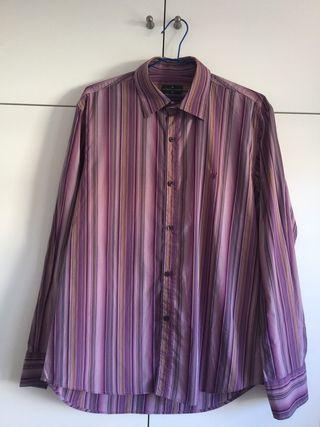 Camisa hombre morada rayas Roberto Verino