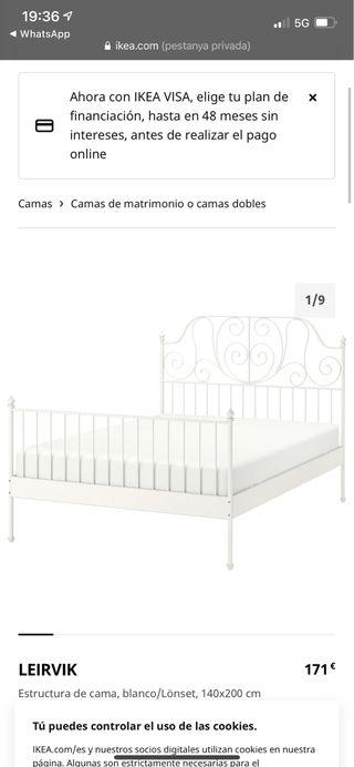 Estructura cama Ikea + colchón Tempur