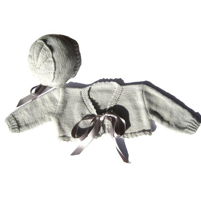 Conjunto de chaqueta y capota gris, bebé 3-6 meses