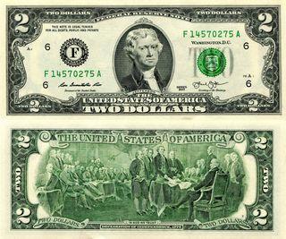 Billete de 2 Dolares
