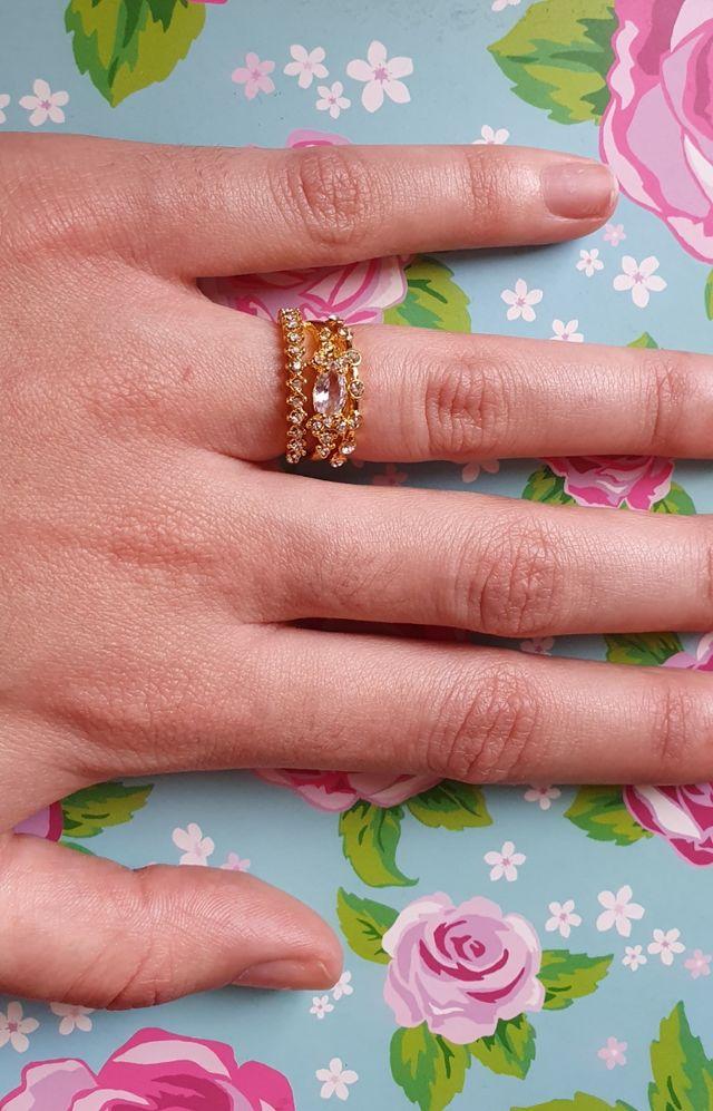 Beautiful Ring Set 14K Gold Overlay.