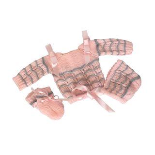 Conjunto de punto para bebe lana 0-3 meses rosa