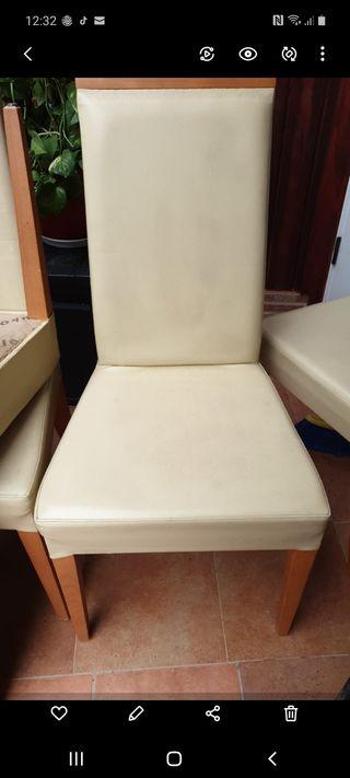 4 sillas piel beige