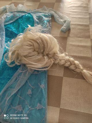 Disfraz y peluca de la Fozen para niña
