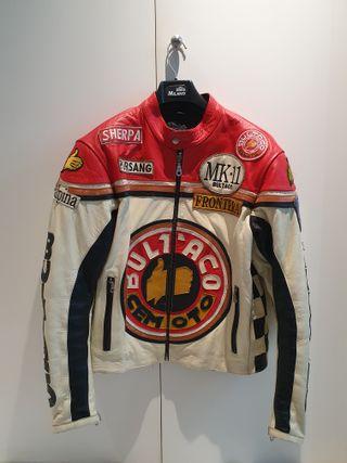 Cazadora moto piel Bultaco retro racing