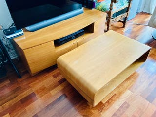 Conjunto salón mueble TV mesa de centro cerezo
