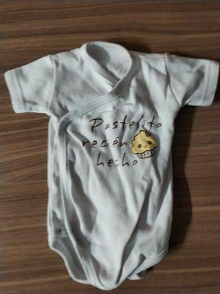 Camiseta prenatal y body bebe 1 mes
