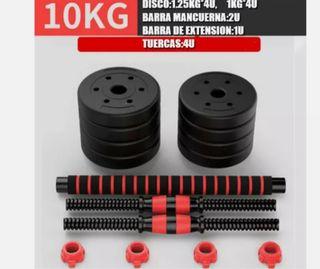 JUEGO MANCUERNAS 2 EN 1 + BARRA AJUSTABLE 10 KG