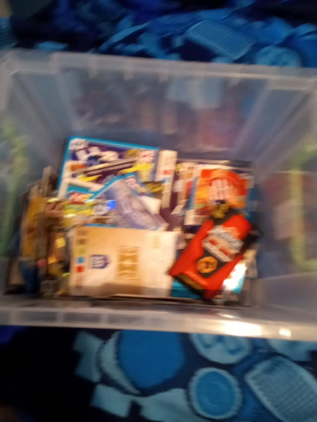 a box of football cards