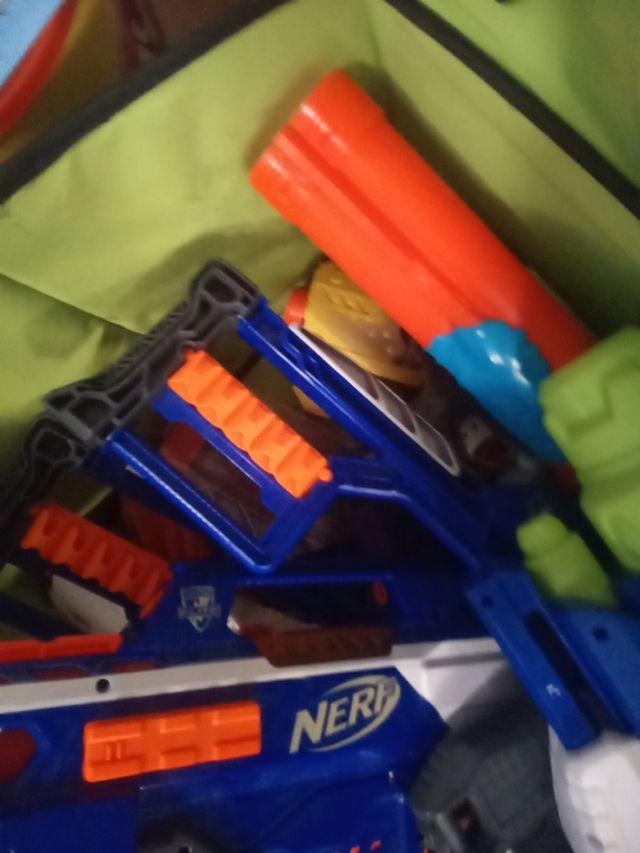 A box of nerf guns and water gun