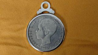 Colgante peseta de plata