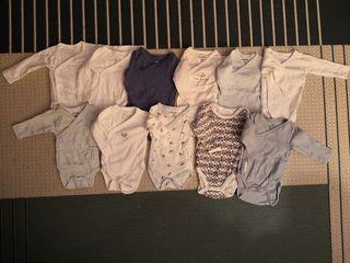 Pack de 11 bodies manga larga bebé talla 0-1 mes