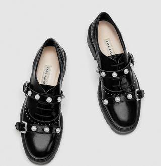 Zapatos planos botines Zara piel perlas talla 38