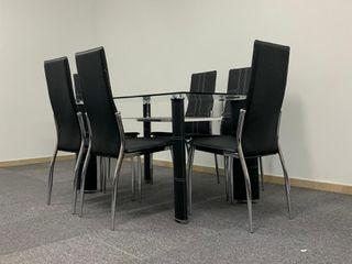 Mesas de Cristal Ketch Negra + 6 Sillas