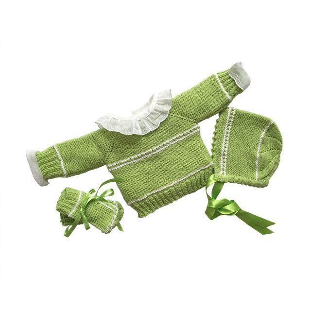 Conjunto de punto para bebé en lana verde y blanco