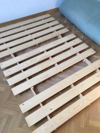 Sofá-cama futón madera natural maciza