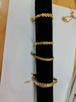 lote de 4 pulseras bañadas en oro