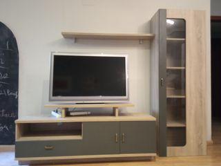 Conjunto mueble TV bajo y vitrina
