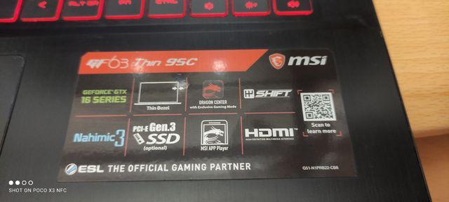 Laptop portátil Gaming MSI GEFORCE GTX GF63