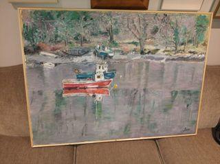 cuadro grande oleo sobre lienzo barcos en la ría