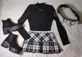 Falda escocesa L/40 de Tablas en negro y gris
