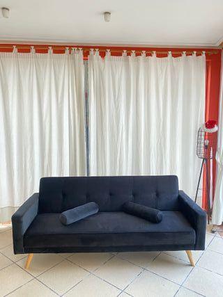 Sofa cama negro, terciopelo.