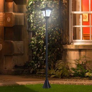 Farol Clásico de Jardín IP44 Lámpara de Pie con Lu