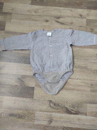 Camisa con body incorporado.Zara 3-6 m (amplia)
