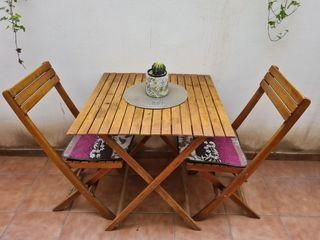 Conjunto Mesa y sillas madera para terraza