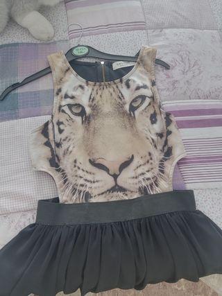 vestido de tul con tigre
